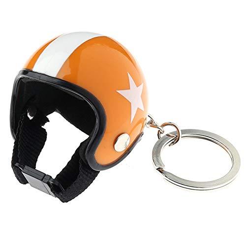 Los Cascos de Motocicleta Llavero Mini Sombrero de Seguridad con Patrones de Las Estrellas Llavero Llavero Anillo de Coches Hombres Mujeres Naranja joyería