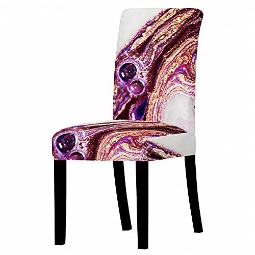 JRLTYU Fundas de sillas Patrón de mármol Amarillo púrpura Blanco Fundas de Silla de Comedor Spandex Fundas Protectoras para Sillas Desmontable para Boda,Hogar,Restaurante Juego de 2 Piezas