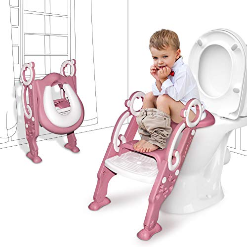 GrowthPic Toddler Toilet Training Seat Ladder with Sturdy Non-Slip Wide Step and Soft Cushion for Girls