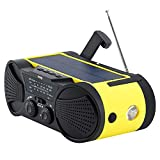 Emergency Weather Radio 4000mAh - Portable, Solar or Battery Powered, Hand Crank, AM FM NOAA Weather Stations, USB Cell Phone Charger, SOS Alarm, LED Flashlight & Reading Light Radio - Buzz4000