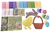 Easter Spring Table Runner Sewing Quilt Kit with Over 100 Precut Squares, Fabric Bundle with Applique Cutouts - Chick, Basket, Bunny, Eggs