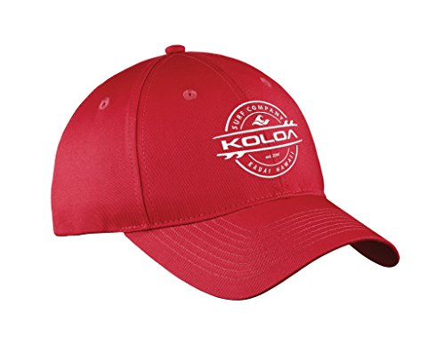 Koloa Surf(tm) Thruster Logo Embroidered Baseball Cap in Red/White Logo
