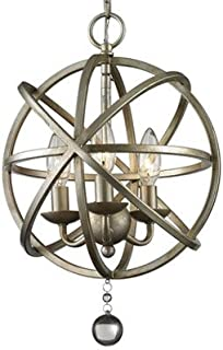 hua Antique Pewter 3 Light Globe Cage Foyer Pendant with Crystal Accents