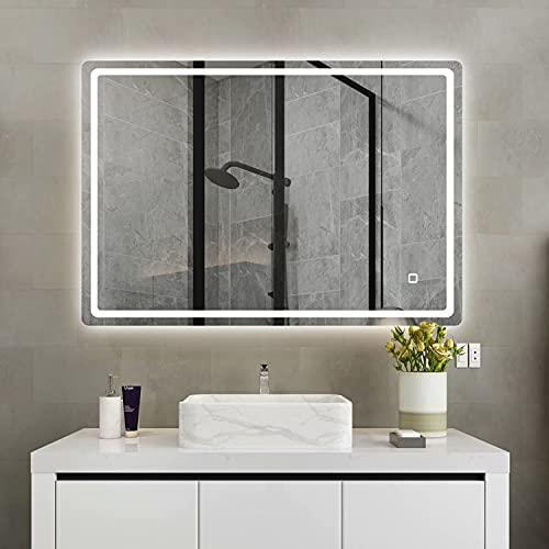S'bagno Espejo de baño con iluminación LED retroiluminada de 1000 x 700 mm