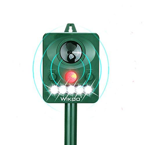 Wikoo Outdoor Solar Animal Repeller,Ultrasonic Animal Repeller with LED Flashing Light,Waterproof Animal Repeller with Motion Sensor,Protect Your Garden Away from Cat/Dog/Bird/Raccoon/Squirrel/Deer