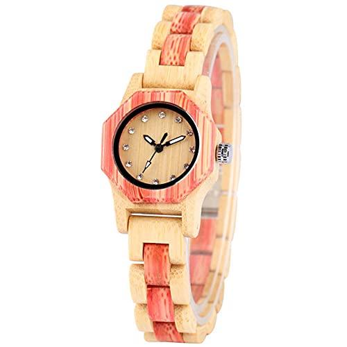 FFHJHJ Caja de Reloj de Madera octágono Relojes de Mujer Esfera Decorativa con Diamantes de imitación Elegante Reloj de Pulsera de Madera Completo para Mujer Movimiento de Cuarzo, Rosa