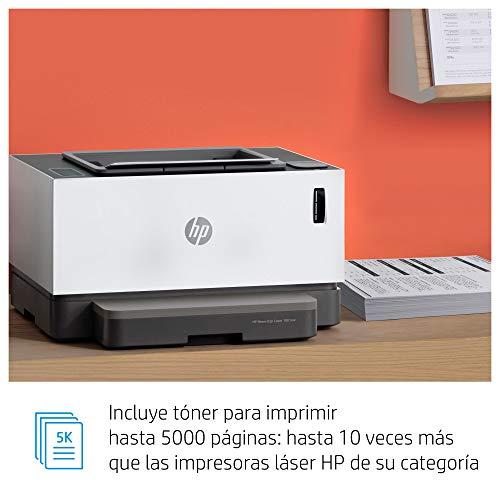 HP Neverstop Laser 1001nw 5HG80A, Impresora A4 Monofunción Monocromo Con Depósito de Tóner, Wi-Fi, Fast Ethernet, USB 2.0 de alta velocidad, HP Smart App, Panel de Control LED, Blanca