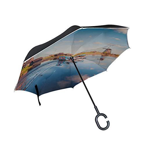 Double Layer Inverted Umbrella Inverted Travel Holländische Windmühlen entlang eines Kanals Fold Umbrella Kinderwagen Inverted Windproof Umbrella Winddichter UV-Schutz für Regen mit C-förmigem Griff