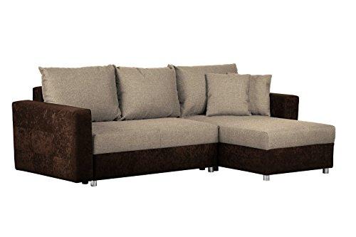 CAVADORE Schlafsofa Caaro mit Recamiere links oder rechts / Couch mit  Schlaffunktion und Bettkasten / Mit Materialmix / 233 x 146 x 69 / Hellbraun-Braun