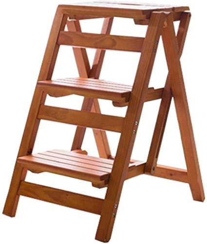 GUOXY 3 Stufenleiter Sicherheit Nicht Beleg-Matte Heavy Duty Holz Folding Tragbare Küchenhocker Startseite Gartenwerkzeug Diy - Schritt Hocker