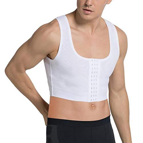 SHANGLY Männer Shapewear Gynäkomastie Kompressionsweste Truhe verstecken Moobs Lesben Hemden Unterwäsche,White,M