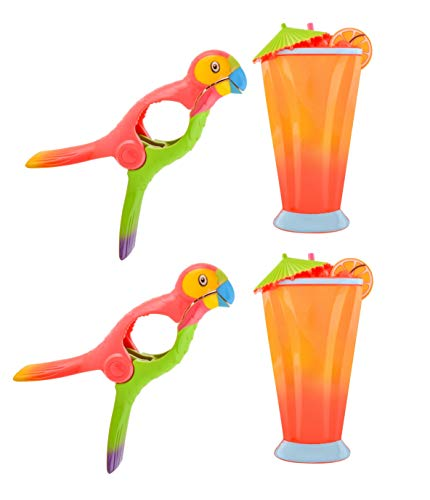 O2COOL Beach Towel Clips Set of 2 Boca Clips for Pool Chairs, Patio and Chaise - Super Cute and Fun Lounge Chair Clamps – for Cruise Ships, Vacations, Picnics and Home (2 Pack) (Cocktail/Parrot)