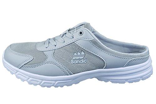 LEKANN 304 Damen Herren Sabots Leichte Clogs Pantoletten Atmungsaktive Sneaker, Hellgrau Gr. 45 EU
