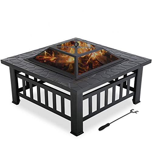 ADHW Outdoor fire Pit for Wood 32' Metal firepit with Charcoal Rack,Poker& Mesh Cover