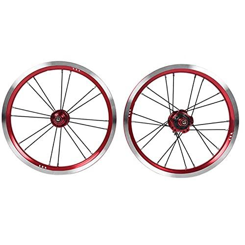 minifinker Jeu de Roues durables pour Le réaménagement du vélo Pliant de 14 Pouces pour Les Roues de vélo de Frein en V(Red)