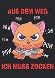 Notizbuch A4 dotted, gepunktet, punktiert mit Softcover Design: Gamer Spruch Gaming Katze Gaming Headset Geschenk für Gamer: 120 dotted (Punktgitter) DIN A4 Seiten