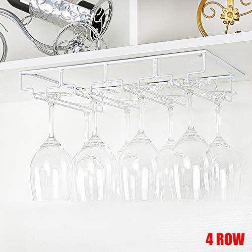 Fnsky Weinglasregal, unter dem Schrank, Stielgläserhalter, Draht-Glas-Halterung, Aufhänger für Küche Bar, weiß, 4 Row