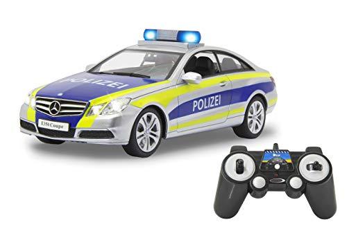 Jamara 405125 Mercedes-Benz E 350 Coupe Polizei Silber/gelb 1:16 2,4G-deutsche Sirene, Alarmanlage, Start, Beschleunigungs, Brems, Zusperr-Ton, Hupe, Signalleuchte, 4 Geschwindigkeiten