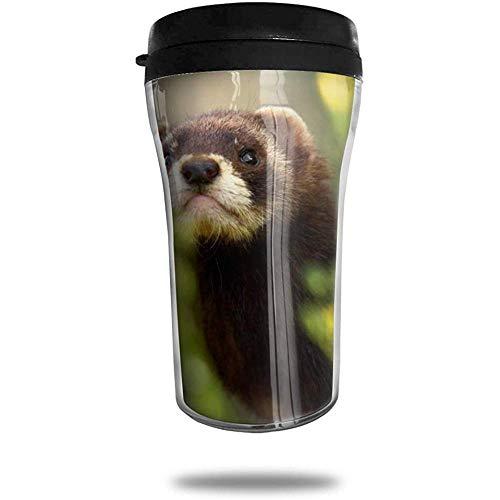 Frettchen im Wald Reisen Kaffeetasse 3D gedruckt tragbaren Saugnapf, isolierte Teetasse Wasserflasche Becher zum Trinken mit Deckel 8,54 oz (250 ml)