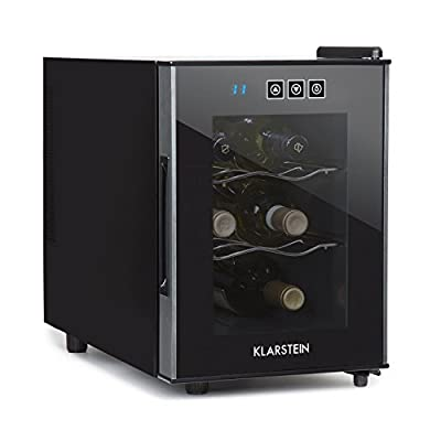 KLARSTEIN Ceres Wine Refrigerator - Wine Fridge, Cooler, 16 Litres, 4 Bottles, Touch, 38 dB in Operation, Glass Door, Setting from 12 to 18 Degrees, Compact, Black
