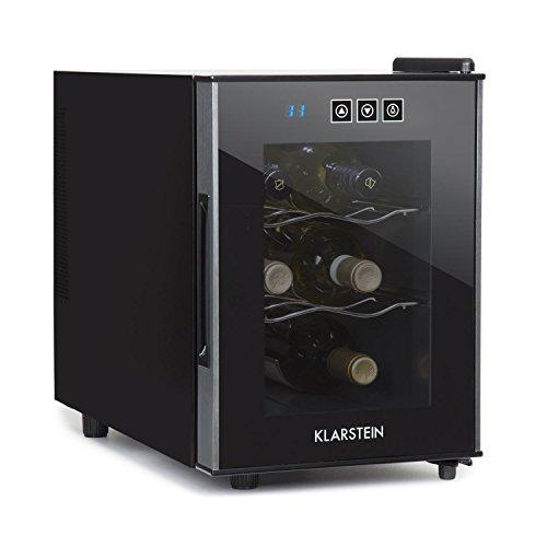 Klarstein  Ceres Nevera vinos o Bebidas Vinoteca 16 L 6 Botellas 2 estantes Control Táctil Silencioso 36 dB Puerta Cristal 12 a 18 Iluminación Interior Baldas extraíbles Negro