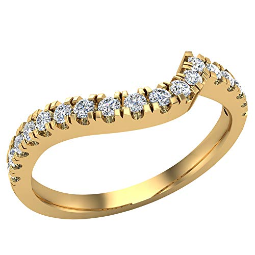 Diamond Wedding Band matching to Ocean Wave Intertwined Engagement Ring 14K Yellow Gold 0.27 ct tw (Ring Size 4.5)