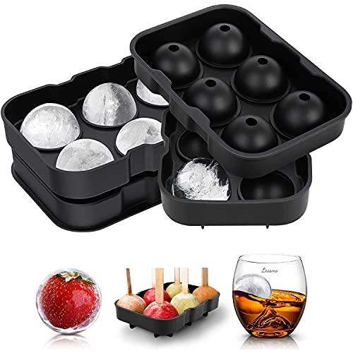 LessMo Giant Ice Cube Tray Round, 2 Packungen Silikon XXL Ice Cube Formen mit Deckel und Trichter, BPA-frei und FDA-Zugelassen, Schwarz, für Whisky, Cocktails und Babynahrung