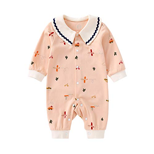 pureborn Baby Girl Jumpsuit Coverall Long Sleeve Peter Pan Collar Cute Pink 3-6 Months