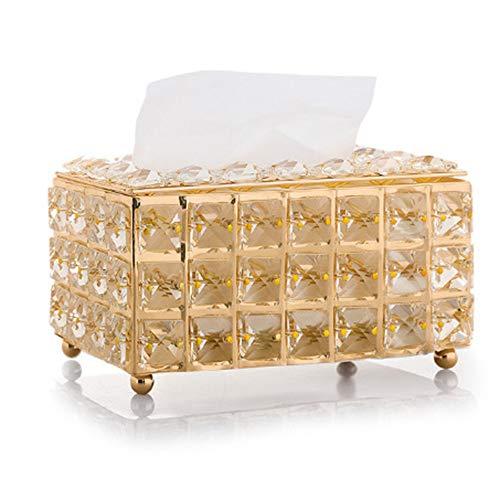 Jkhome Glass Crystal Tissue Holder Towel Cover Toilet Napkin Paper Box Case for Dining Room, Living Room, Bedroom, Study Desk, Car Automotive Decoration (Golden)