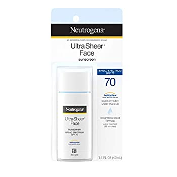 Neutrogena Ultra Sheer Liquid Daily Facial Sunscreen with Broad Spectrum SPF 70 Non-Comedogenic Oil-free & PABA-Free Weightless Sun Protection 1.4 fl oz  Pack of 2