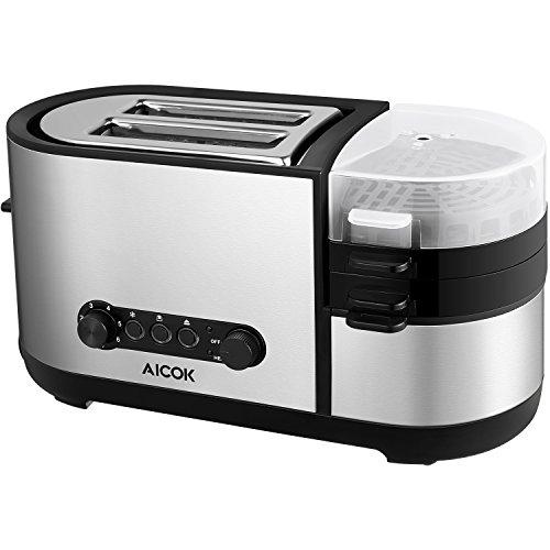 Aicok 5-in-1 Toaster mit Eierkocher für Toasten Eier Kochen Omelett Dampfgaren, 7 Bräunungsstufen, Herausziehbare Krümelschublade, Automatisches Ausschalten, Lebensmittelqualität Edelstahl, 1000W