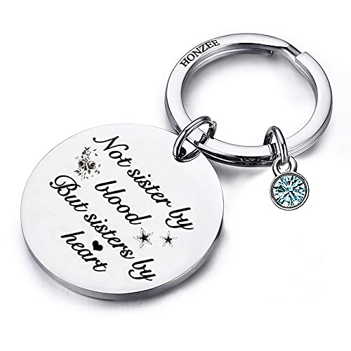 Friendship Gifts for Women Best Friends No Sister by Blood But by Heart Sister BFF Keychain Under 10 15 Dollars Birthday Inspirational Gifts For Female Friends Gifts