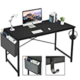 BOLUO Black Computer Desk 39 inch Home Office Table for Small Spaces Bedroom Writing Study Work PC Des Simple Modern Deak with Storage Bag 40'