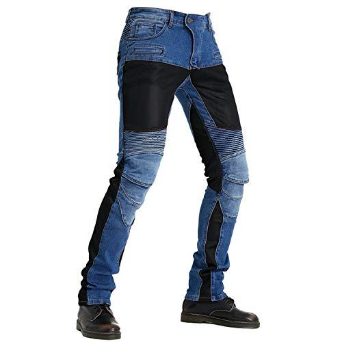QINYA Pantalones De Moto Para Hombre, Vaqueros De Kevlar Para Hombre, Vaqueros De Moto Cómodos, Transpirables Y Elegantes (blue,M)