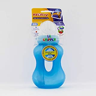 Nuby Lil Gripper Wide Neck Bottle to Cup Vari-Flo Nipple & Spout 270 ml 3 month, Blue_1011245