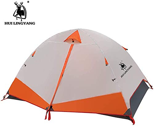 xmwm Lightweight Tent,2 Person Camping Tent, Ultralight Outdoor Waterproof Tent with Storage Bag, Easy Setup Anti-UV Double Layer Portable Backpacking Tent for Hiking Fishing Beach,Orange
