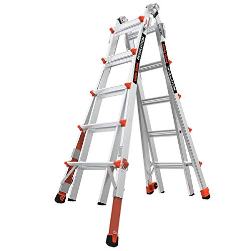 Little Giant Ladder Systems 12022-801 Revolution M22 with Ratcheting Levelers,Aluminum/Orange