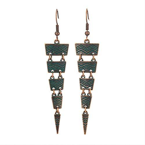 Pour les femmes Triangle avec des lignes Antique Copper Green Long Dangling For Women Accessoires Boucles d'oreilles