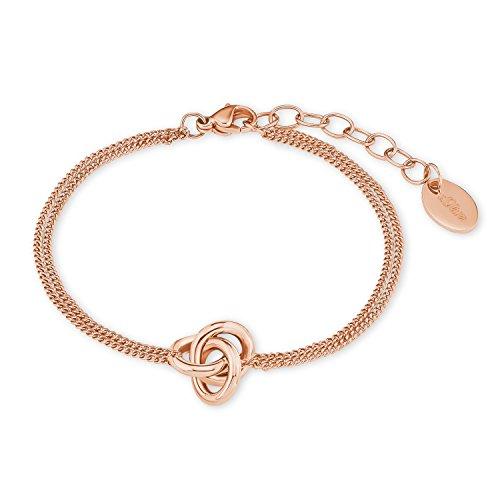 S.Oliver Damen Armband Knoten Anhänger Edelstahl IP 17+3 cm Rosegold