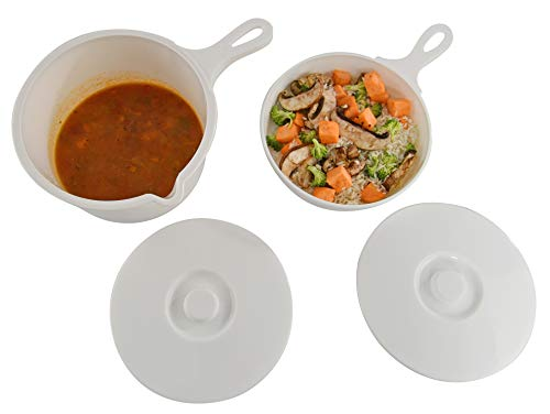 HOME-X Set of 4, Microwave Pot and Skillet with Lid and Handle, BPA Free, Dishwasher Safe