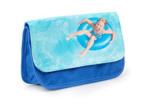 Regalo Original Estuche Escolar de Color Azul Tipo Bolsa Personalizado con tu Foto o Texto para la Vuelta al Cole 13 cm x 21 cm