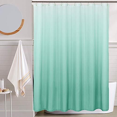 jinchan Ombre Shower Curtain Turquoise for Bathroom Waterproof Gradual Color Design Fabric Shower Curtain Hooks Included with Rings 1 Panel 72 inch Long