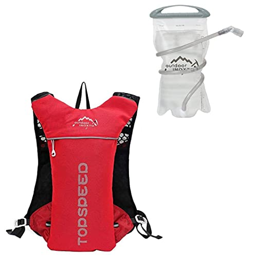 Cycling Backpack Outdoor Hiking Sports Hydration Backpack with 1.5L Water Bag for Bike Riding Hiking Running Climbing Red