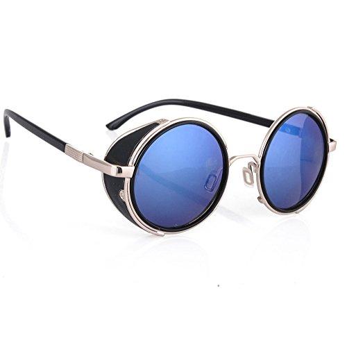 Morefaz steampunk gafas de sol espejado 50s ronda gafas cibernéticas vintage retro hippy estilo hombres mujeres lente espejo original MFAZ Ltd