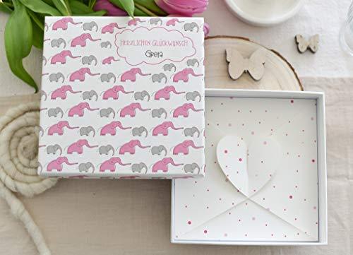 Geldgeschenk zur Taufe oder Geburt Happy Elephants PERSONALISIERT für Mädchen oder Junge -Geschenk fürs Baby - Geld Verpackung - personalisiert