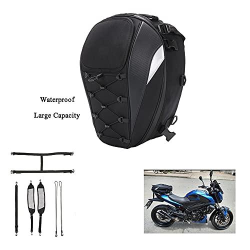 Bolsa de cola de asiento de motocicleta Mochila de doble uso para casco de moto, bolsas de equipaje impermeables de gran capacidad de almacenamiento