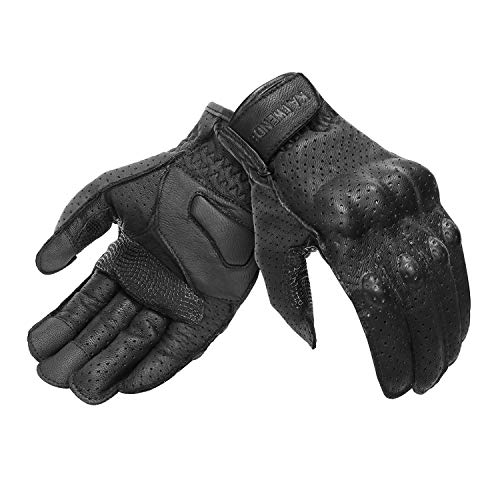 Full Finger Leather Motorcycle Gloves Men 's Touchscreen Motorcycle Gloves Knuckle Armored Motorbike Gloves (Perforated, Large)