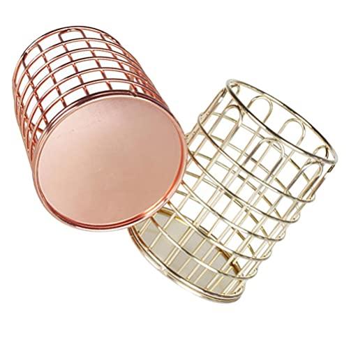 Cabilock 2 Piezas de Metal para Brochas de Maquillaje Taza de Oro Organizador de Lápices de Escritorio Caja de Almacenamiento de Joyas Contenedor de Papelería para La Oficina en Casa