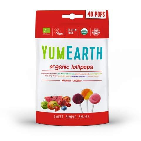 YumEarth - Piruletas Orgánicas de Frutas 8 sabores: Granada, Sandía, Fresa, Uva, Cereza, Melocotón, Frutos rojos y Mango - 40 unidades