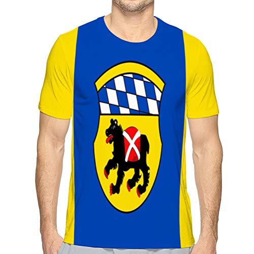 Men's Summer Short Sleeve Shirt Printed Casual Light Weight T Shirt Flag of freising is a Town in Upper Bavaria